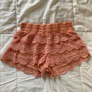 Pink Frilly Lace Shorts